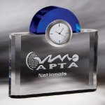 Night and Day Clock Blue Optical Crystal Awards