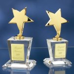 Brass Stars with Crystal Bases Patriotic Awards