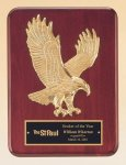 Rosewood Piano Finish Plaque with Gold Eagle Casting Recognition Plaques