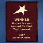 Piano Finish Wood Plaque with Brass Star Star Awards